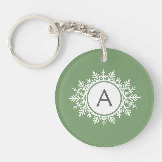 Ornate White Snowflake Monogram on Sage Green Double-Sided Round Acrylic Keychain