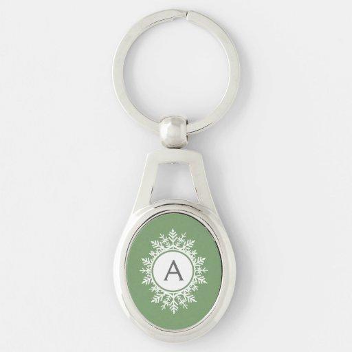 Ornate White Snowflake Monogram on Sage Green Keychains
