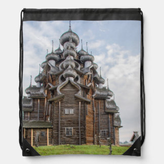 Ornate wooden church, Russia Drawstring Bag