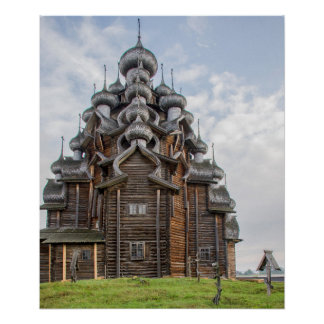 Ornate wooden church, Russia Poster