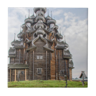 Ornate wooden church, Russia Tile