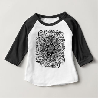 Ornate Zen Doodle Optical Illusion Black and White Baby T-Shirt