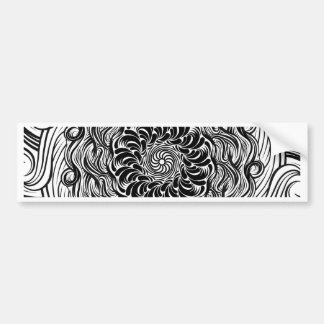 Ornate Zen Doodle Optical Illusion Black and White Bumper Sticker