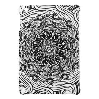 Ornate Zen Doodle Optical Illusion Black and White iPad Mini Case