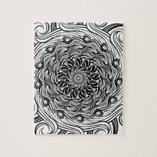 Ornate Zen Doodle Optical Illusion Black and White Jigsaw Puzzle