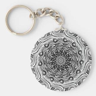 Ornate Zen Doodle Optical Illusion Black and White Keychain