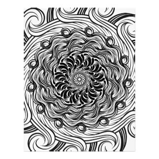 Ornate Zen Doodle Optical Illusion Black and White Letterhead