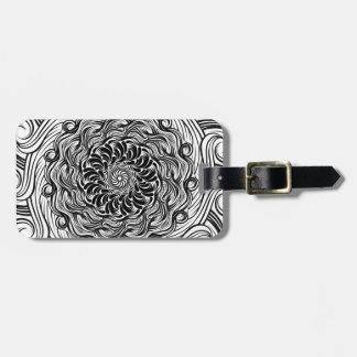 Ornate Zen Doodle Optical Illusion Black and White Luggage Tag