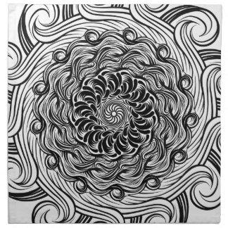 Ornate Zen Doodle Optical Illusion Black and White Napkin
