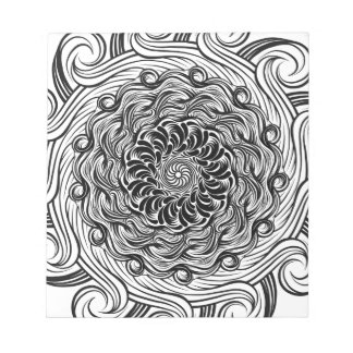 Ornate Zen Doodle Optical Illusion Black and White Notepad