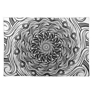 Ornate Zen Doodle Optical Illusion Black and White Placemat
