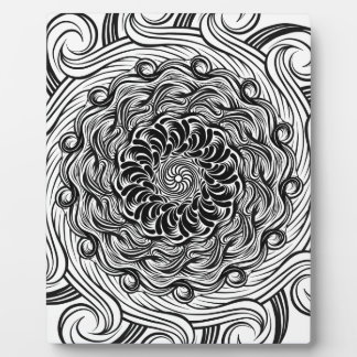 Ornate Zen Doodle Optical Illusion Black and White Plaque