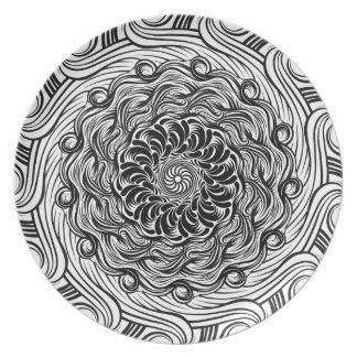Ornate Zen Doodle Optical Illusion Black and White Plate