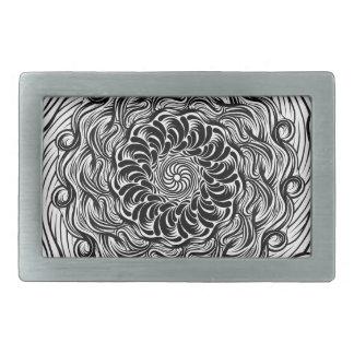 Ornate Zen Doodle Optical Illusion Black and White Rectangular Belt Buckle