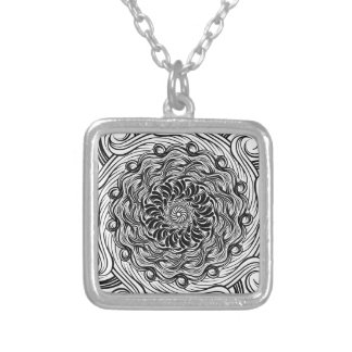 Ornate Zen Doodle Optical Illusion Black and White Silver Plated Necklace