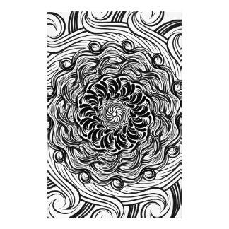 Ornate Zen Doodle Optical Illusion Black and White Stationery