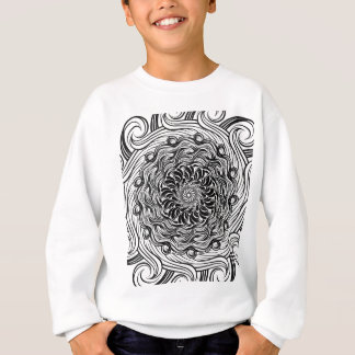 Ornate Zen Doodle Optical Illusion Black and White Sweatshirt