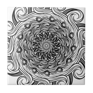 Ornate Zen Doodle Optical Illusion Black and White Tile