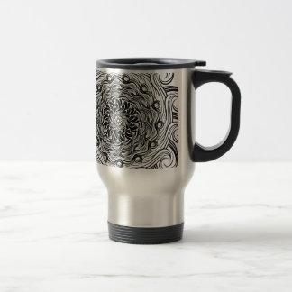 Ornate Zen Doodle Optical Illusion Black and White Travel Mug
