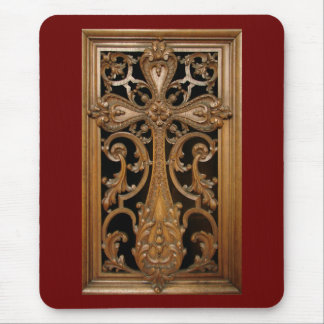 Ornately-Carved Wooden Cross Mousepad