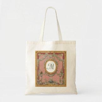 Ornately Framed Monogram, Vintage Floral Tapestry Tote Bag