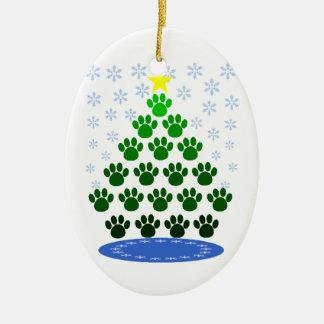 Ornement d'arbre de Noël d'empreintes de pattes
