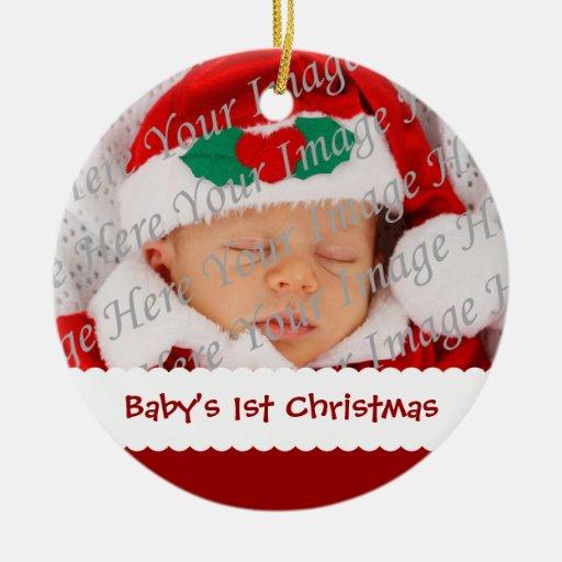 Ornement daté de photo de ęr Noël du bébé