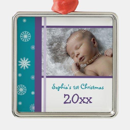 Ornement de Noël du bébé de photo ęr