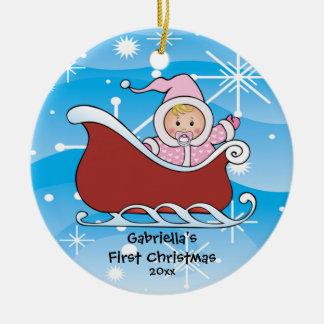 Ornement de Noël du bébé de Sleigh de neige