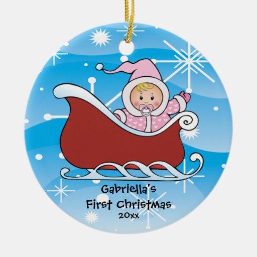Ornement de Noël du bébé de Sleigh de neige premie