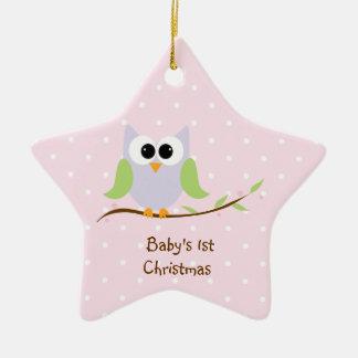 Ornement de Noël du bébé en pastel de hibou mignon