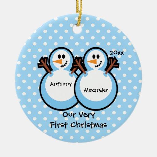 Ornement de Noël du bébé jumeau de garçons de bonh