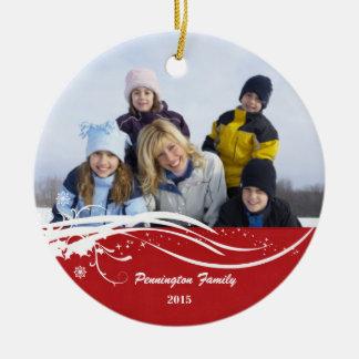Ornement de photo de vacances de Noël de remous de
