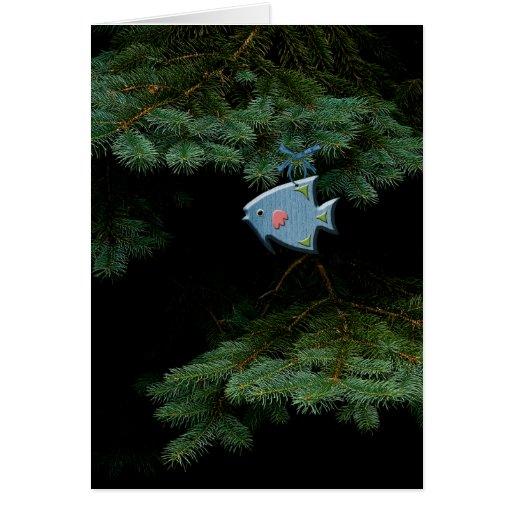 Ornement en bois de poissons carte de vœux