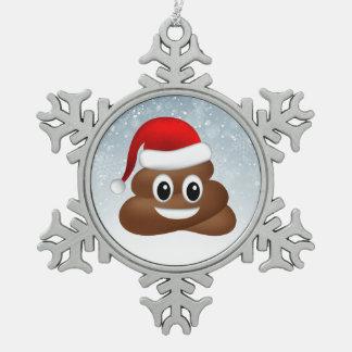 Ornement Flocon De Neige emoji de poo de Noël avec le casquette de père