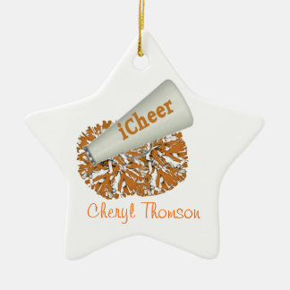 Ornement orange et blanc de pom-pom girl