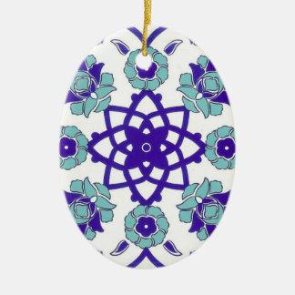 Ornement ovale floral de mosaïque