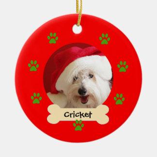 Ornement personnalisé de Noël de chien - 1 côté
