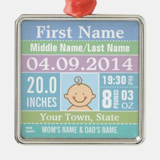 Ornement personnalisé de stat de naissance de bébé