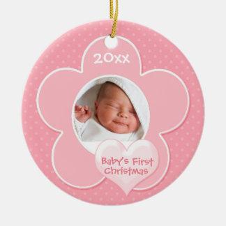 """Ornement premier de """"Noël du bébé"""" de rose et de b"""