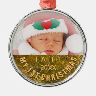 Ornement Rond Argenté Noël de bébé de l'ornement   de photo ęr