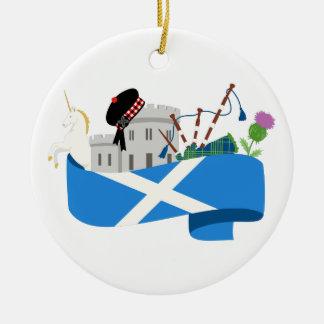 Ornement Rond En Céramique Écossais