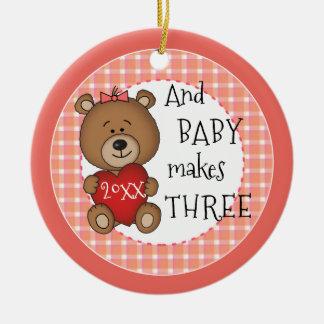 Ornement Rond En Céramique ęr Nouveau cadeau de Noël de souvenir de bébé