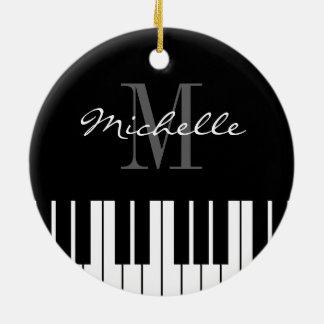 Ornement Rond En Céramique Le piano verrouille l'ornement d'arbre de Noël