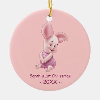Ornement Rond En Céramique Noël du bébé du porcelet | le premier ajoutent