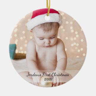 Ornement Rond En Céramique Premier Yea de nom de photo de Noël du bébé