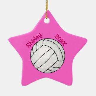 Ornement rose d'arbre de Noël de volleyball