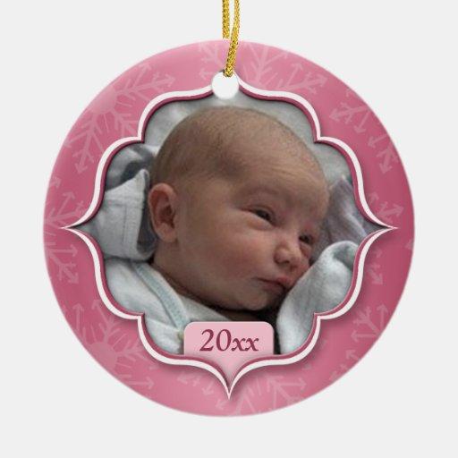 Ornement rose de photo de premier Noël du bébé