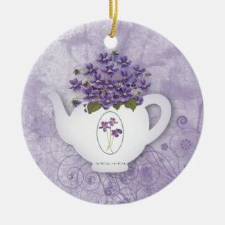 Ornement violet de théière