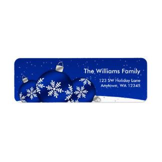 Ornements de flocon de neige de Noël bleu et blanc Étiquettes D'adresse Retour